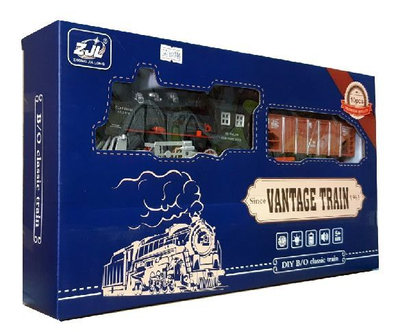 Залізниця HUASTAR 50244А,  на батарейках,   10 деталей, світло, звук, для малюків