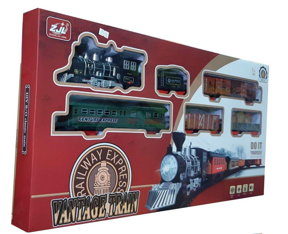 Железная дорога HUASTAR 50246,  на батарейках,   30 деталей, свет, звук, для малышей