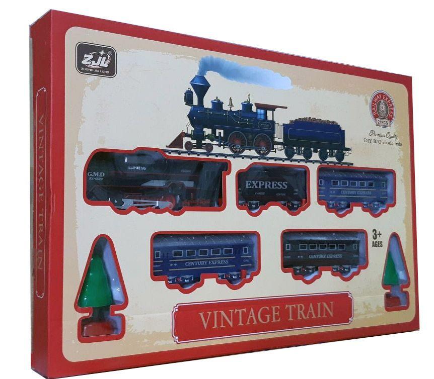 Железная дорога для детей HUASTAR 50279, на батарейках,  21 деталь, свет, звук