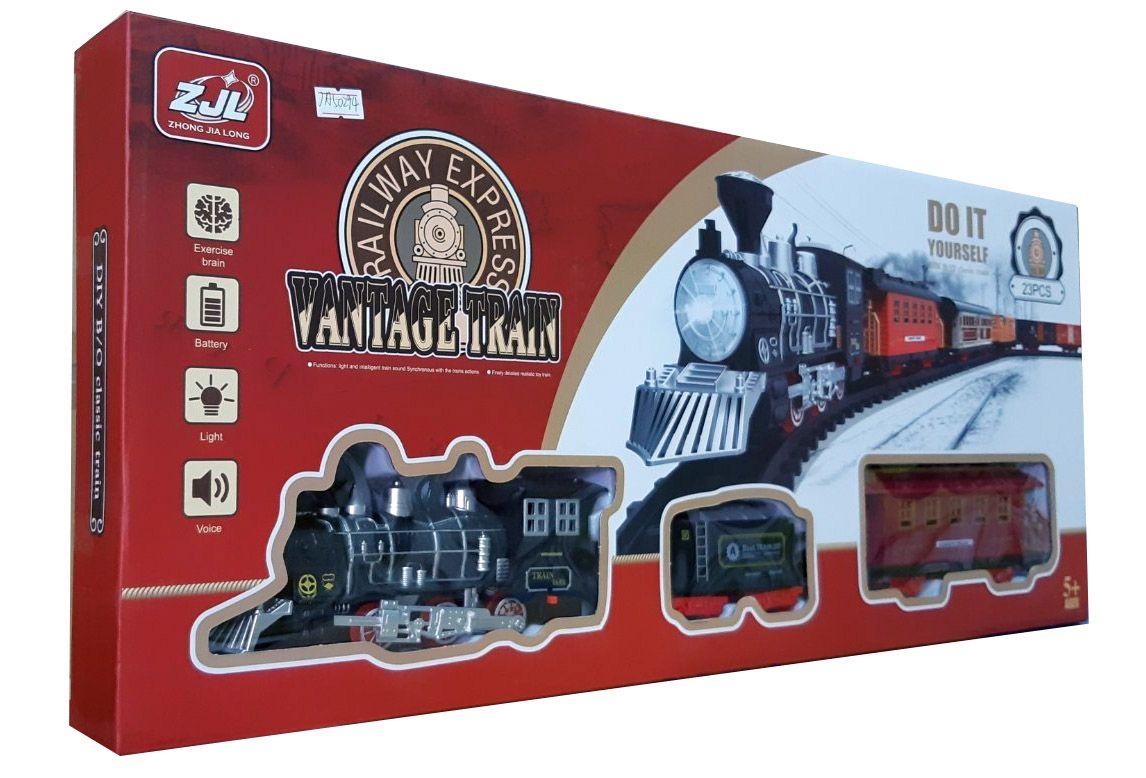 Залізниця HUASTAR 50294,  23 детали, на батарейках,  свет, звук, для малюків