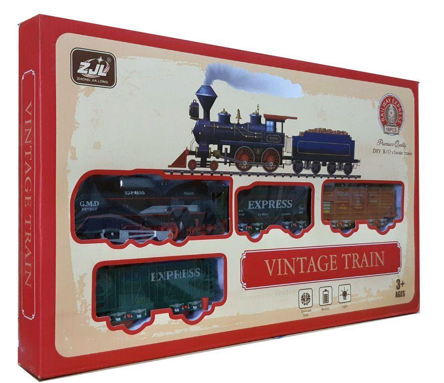 Железная дорога для детей HUASTAR 50783, 18 деталей, на батарейках,  свет, звук