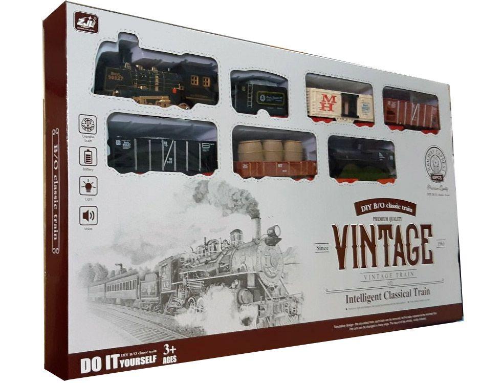 Железная дорога HUASTAR 51058,  40 деталей, на батарейках,  свет, звук, для малышей