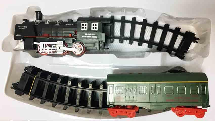 Залізниця для дітей HUASTAR 50244А, на батарейках, 10 деталей, світло, звук
