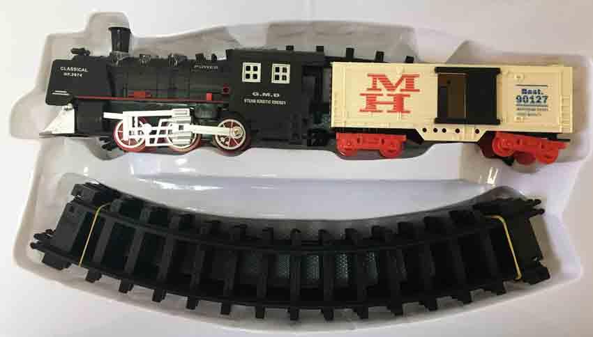 Железная дорога для детей HUASTAR 50244B, на батарейках, 10 деталей, свет, звук