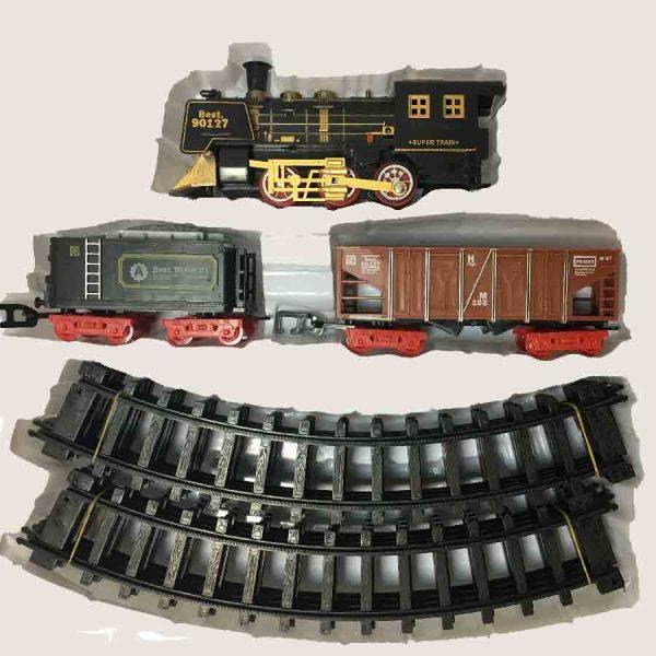 Залізниця для дітей HUASTAR 51059B, 11 деталей, на батарейках,  звук, світло