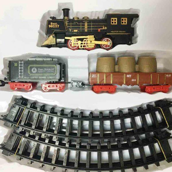 Железная дорога для детей HUASTAR 51059С, 11 деталей, на батарейках, звук, свет