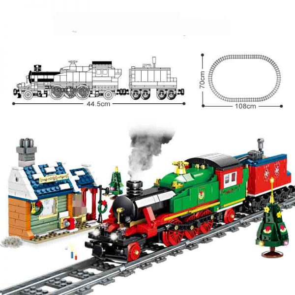 Конструктор Kazi 98251 Рождественский электрический поезд