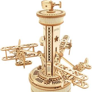 """Дерев'яний 3Д конструктор Robotime AMK41""""Диспетчерська вежа з літаками"""""""