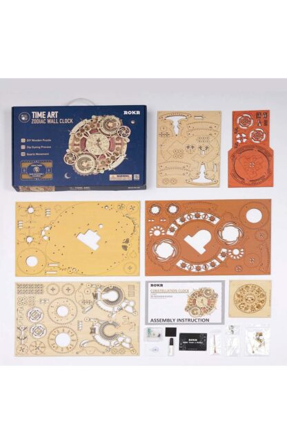 """Дерев'яний конструктор, 3D пазли Robotime LC601 """"Настільний годинник зі знаками Зодіаку і календарем"""""""