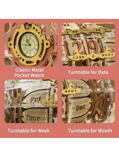 """Дерев'яний конструктор, 3D пазли Robotime LC801""""Настільний годинник з календарем"""""""