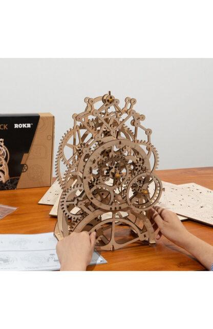 Дерев'яний 3D конструктор Robotime LK501 «Механічний годинник з маятником»