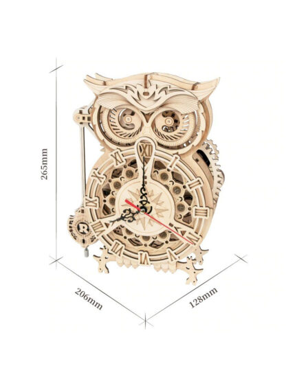 Конструктор дерев'яний Robotime LK503 DIY Mechanical Owl Clock