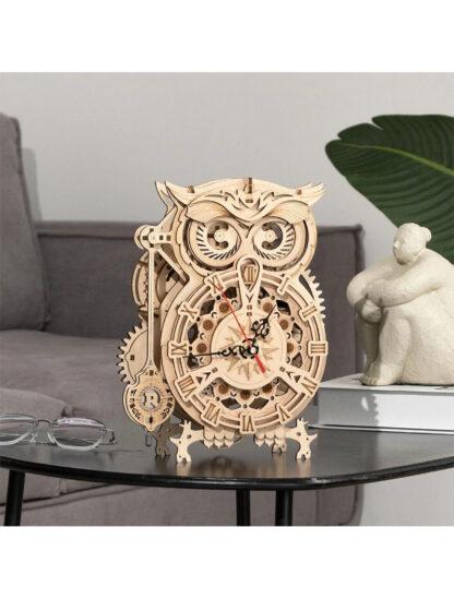 Дерев'яний 3D конструктор Robotime LK503 механічний годинник «Сова»