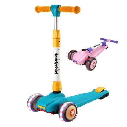 Детский трехколесный самокат HongDuo S8805 – это хорошее сочетание надежности, качества и превосходного внешнего вида. Особенности: Детский самокат с двумя передними колесами обладает повышенной устойчивостью, благодаря чему ваш малыш легко и быстро научится кататься. Это хороший выбор для ребенка от трех лет и старше. Стойка руля регулируется под рост ребенка. Широкие мощные колеса смотрятся стильно и во время езды добавляют маленькому гонщику уверенности. Увеличенная ширина деки дает ребенку возможность поставить на нее обе ноги. Самокат оснащен тормозной системой step-on-brake, которая отличается простой и надежной конструкцией. Чтобы остановиться, ребенок нажимает ногой на пластинку, расположенную над задним колесом, и скутер замирает буквально в одно мгновение. Трехколесный самокат для маленьких детей выполнен из надежных и износостойких материалов. Корпус - из легкого и прочного алюминия, подставка для ноги - из нейлона, ручки руля - из прочного пластика. Полиуретановые колеса оснащены мигающей светодиодной подсветкой, ездят безшумно и легко преодолевают небольшие препятствия на дороге. Важное преимущество самоката HongDuo S8805 - его компактность. Для удобства переноски или хранения самокат можно легко сложить. Характеристики: • Страна: Китай • Бренд: HongDuo • Артикул: S8805 • Конструкция: раскладной • Цвет: красный • Стойка руля: алюминий, регулируется по высоте • Дека: нейлон • Колеса: полипропилен • Количество колес: 3 • Передние колеса: 120 х 45 мм • Заднее колесо: 80 х 48 мм • Подсветка колес: да • Тормоз: step-on-brake (задний, ножной) • Возраст: от трех лет • Вес самоката: 2,8 кг • Вес в упаковке 3,2 кг • Упаковка: коробка из коричневого гофрокартона • Размеры упаковки: 290 х 160 х550 мм Хотите купить качественный детский самокат HongDuo по приемлемой цене? Оставьте заявку на сайте или позвоните нашему сотруднику и оформите заказ по телефону. Оперативно доставим трехколесный или двухколесный самокат для ребенка в любую точку Украины, где есть отделени