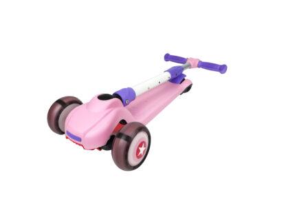 Детский трехколесный складной самокат HongDuo S8805 с цветным принтом, светящиеся колеса, новый дизайн, нейлоновая дека